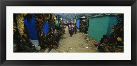 Framed Houses Decorated With Flowers, Zunil Cemetery, Guatemala Print