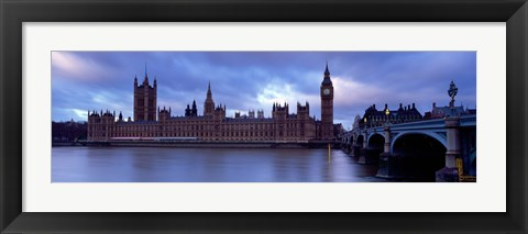 Framed Government Building At The Waterfront, Big Ben And The Houses Of Parliament, London, England, United Kingdom Print