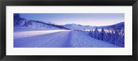 Framed Highway running through a snow covered landscape, Akureyri, Iceland Print