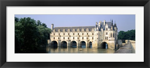Framed Reflection of a castle in water, Chateau de Chenonceaux, Chenonceaux, Cher River, Loire Valley, France Print