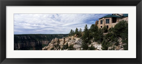 Framed Low angle view of a building, Grand Canyon Lodge, Bright Angel Point, North Rim, Grand Canyon National Park, Arizona, USA Print