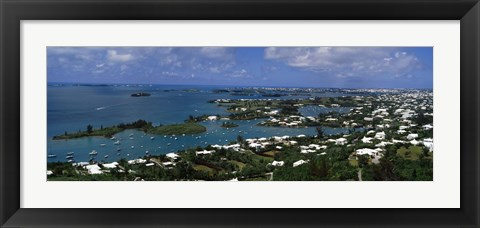 Framed Buildings along a coastline, Bermuda Print
