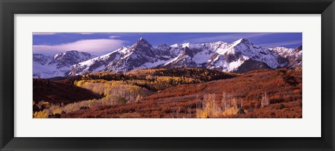 Framed Mountains covered with snow and fall colors, near Telluride, Colorado Print