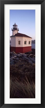 Framed Lighthouse at the coast, Coquille River Lighthouse, Bandon, Coos County, Oregon, USA Print