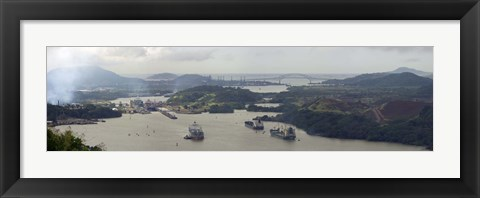 Framed Container ships in a canal, Miraflores, Panama Canal, Panama Print