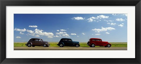 Framed Three Hot Rods moving on a highway, Route 66, USA Print