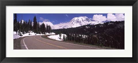 Framed Road with a mountain range in the background, Mt Rainier, Mt Rainier National Park, Pierce County, Washington State, USA Print