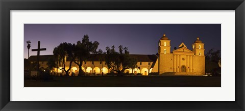 Framed Mission lit up at night, Mission Santa Barbara, Santa Barbara, Santa Barbara County, California, USA Print