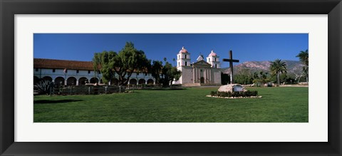 Framed Cross with a church in the background, Mission Santa Barbara, Santa Barbara, California, USA Print