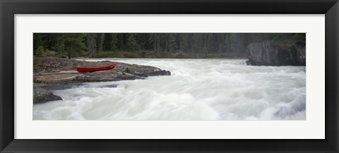 Framed River flowing in a forest, Kicking Horse River, Yoho National Park, British Columbia, Canada Print