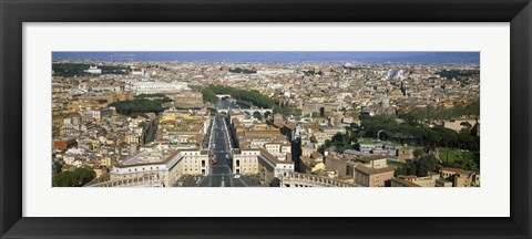 Framed Overview of the historic centre of Rome from the dome of St. Peter's Basilica, Vatican City, Rome, Lazio, Italy Print