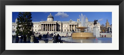 Framed Fountain with a museum on a town square, National Gallery, Trafalgar Square, City Of Westminster, London, England Print