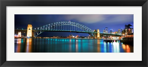Framed Sydney Harbour Bridge with the Sydney Opera House in the background, Sydney Harbor, Sydney, New South Wales, Australia Print
