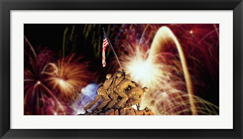 Framed Digital Composite, Fireworks Highlight the Marine Corps War Memorial, Arlington, Virginia, USA Print