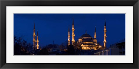 Framed Blue Mosque Lit Up at Night, Istanbul, Turkey Print