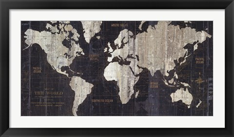 Framed Old World Map Blue Print