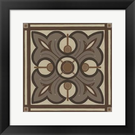 Framed Piazza Tile in Brown II Print