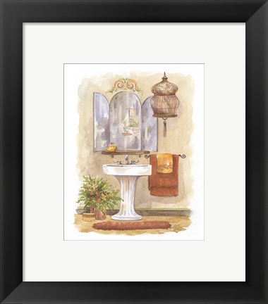Framed Watercolor Bath in Spice I Print