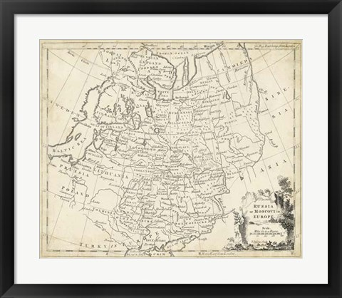 Framed Map of Russia Print