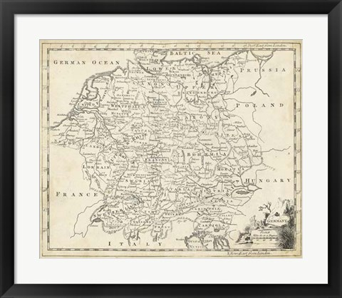 Framed Map of Germany Print