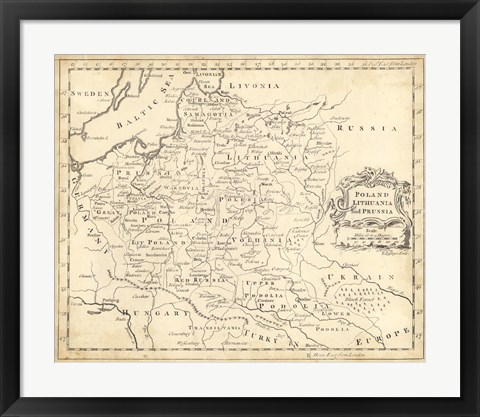 Framed Map of Poland Print