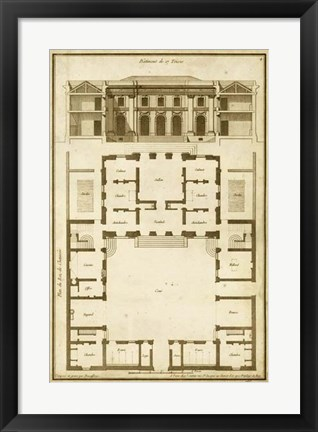 Framed Vintage Building & Plan I Print