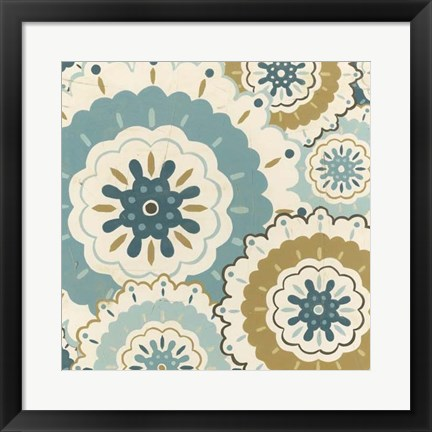 Framed Blue Lace I Print