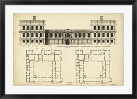 Framed Elevation & Plan for Castle Abby Print