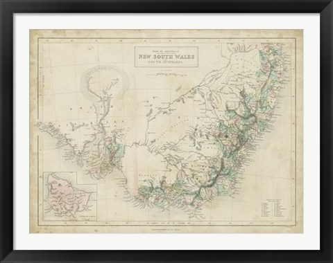 Framed Map of New South Wales Print