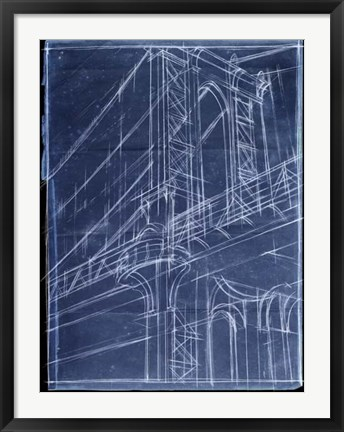Framed Bridge Blueprint I Print