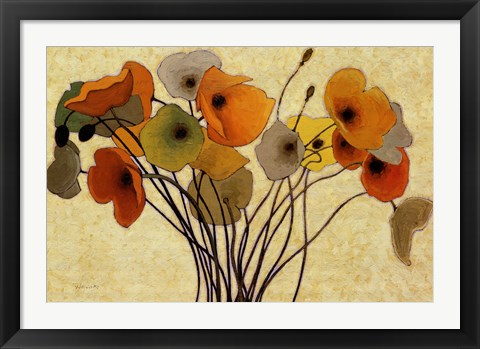 Framed Pumpkin Poppies I Print