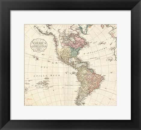 Framed 1795 D'Anville Wall Map of South America Print