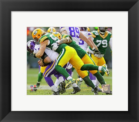Framed Clay Matthews on the field 2013 Print