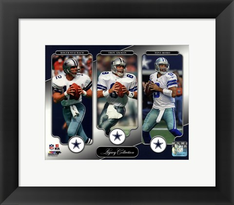 Framed Roger Staubach, Troy Aikman, & Tony Romo Legacy Collection Print
