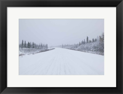 Framed Highway passing through a snow covered landscape, George Parks Highway, Denali National Park, Alaska, USA Print