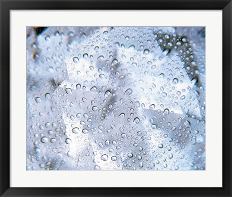 Framed Kaleidoscopic pattern in purple, lavender and white with water droplets Print