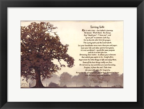 Framed Living Life Sepia Tree Print