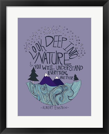 Framed Albert Einstein - Nature Print