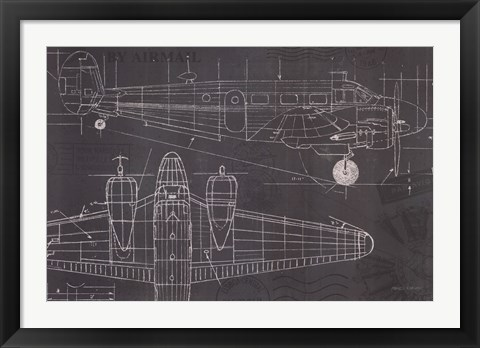 Framed Plane Blueprint I Print
