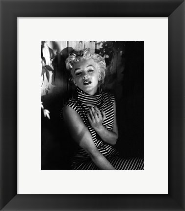 Framed Marilyn Monroe 1954 Striped Dress Print