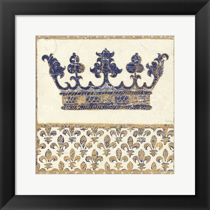 Framed Regal Crown Indigo and Cream Print