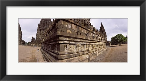 Framed Carving Details on 9th century Hindu temple, Indonesia Print