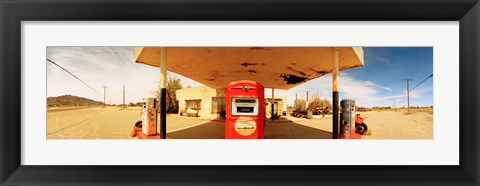 Framed Closed gas station, Route 66, USA Print