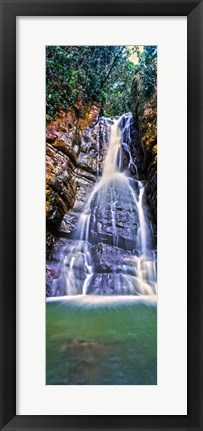 Framed Waterfall in a forest, La Mina Falls, Caribbean National Forest, Puerto Rico Print
