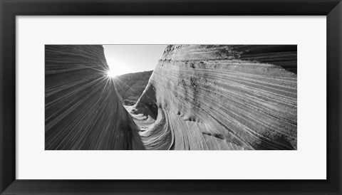 Framed Sandstone rock formations in black and white, The Wave, Coyote Buttes, Utah, USA Print