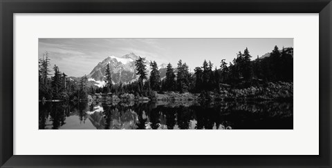 Framed Reflection of trees and mountains in a lake, Mount Shuksan, North Cascades National Park, Washington State (black and white) Print
