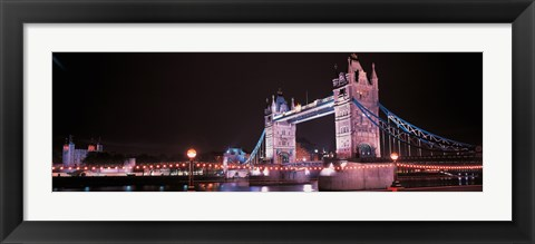 Framed Tower Bridge London England at Night Print