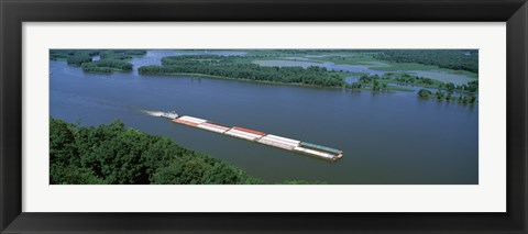 Framed Barge in a river, Mississippi River, Marquette, Prairie Du Chien, Wisconsin-Iowa, USA Print
