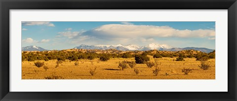 Framed High desert plains landscape with snowcapped Sangre de Cristo Mountains in the background, New Mexico Print