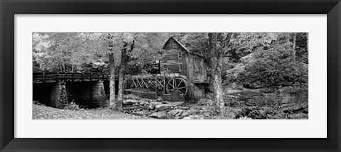 Framed Glade Creek Grist Mill, Babcock State Park, West Virginia, USA (Black & White) Print